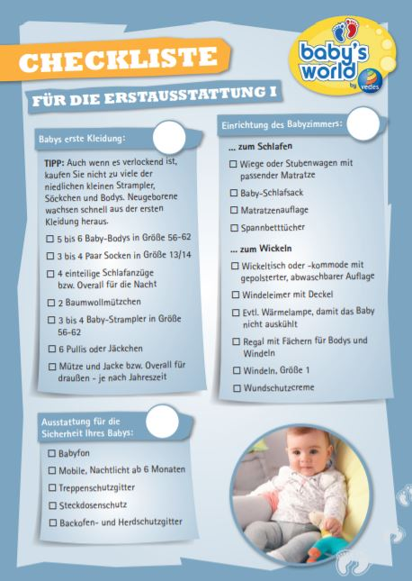 Checkliste für die Baby Erstaustattung